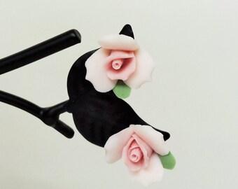 Pink Rose Earrings - Porcelain Bridal Earrings - 1/2 inch Flowergirl Earrings - Porcelain Bisque Easter Earrings