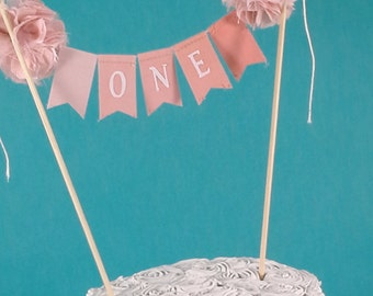 "Cake banner, smash cake, coral ombre birthday bunting,""ONE"" I300 - birthday cake topper"