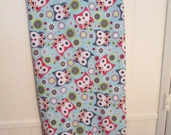 "Owl Blanket - 100% Flannel - 29"" x 40"" - Navy blue on back"