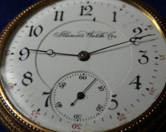 Vintage Illinois 17 Jewels 16 Size Pocket Watch In Double Hinged GF Case