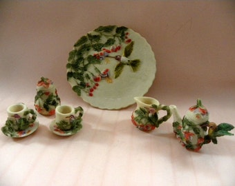 A Cute Miniature Bisque Clay 3-Dimensional Water Pitcher, Vase, Plate, Sugar, Creamer, and Cups and Saucers