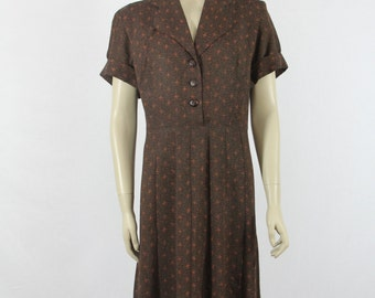 1950s Vintage Dress - Atomic Novelty Print Plus Size Day Dress - 44 / 39 / 51