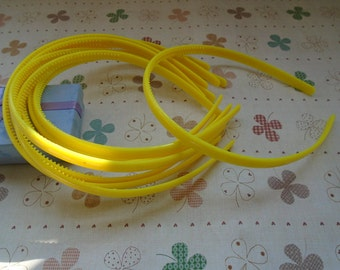 20pcs 9mm yellow plastic headband with teeth 37cm long
