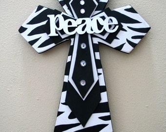 """Zebra """"Peace"""" Wooden Cross"""