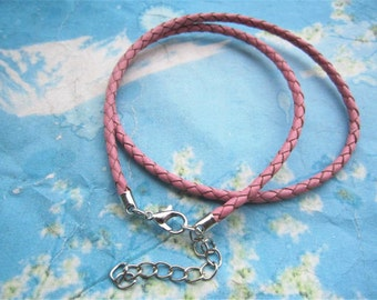 5pcs 12-24 inch for your choose 3mm Pink braided GENUINE(REAL) leather choker necklace cords with silver lobster clasps and extender