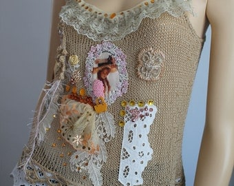 Boho Chic  Shabby Chic Romantic Hand Knitted  Beige Top tank Blouse  -Tattered - Textile Collage -Wearable Art - Size S/M - Ready to ship