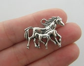4 Horse and foal charms antique silver tone HS5