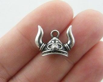 BULK 10 Viking helmet charms antique silver tone SW33