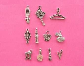 The Beautiful girl Collection - 11 different antique silver tone charms