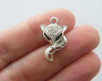 2 Fox rhinestone charms silver plated A274