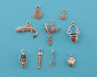 The Fishing Collection - 9 different antique silver tone charms