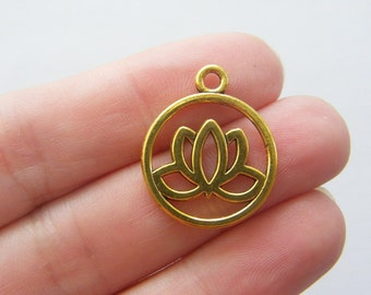 8 Lotus flower charms antique gold tone GC32
