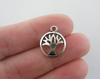 8 Tree charms antique silver tone T58