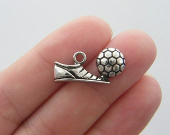 4 Soccer cleat and ball pendants antique silver tone SP30