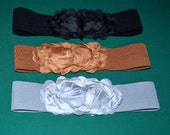 Chiffon Flower cinch belt Wide elastic stretch corset belt, black , brown,Gray ,Grey ,one size