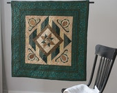 Green Diamond Quilted Wall Hanging