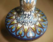 Blues, White and Tan CLOISONNE Vase