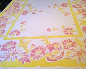 cotton Tablecloth 63x50 Bright Colors YELLOW MAUVE Pink on White