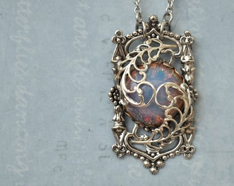 Door To The Secret Garden, antiqued silver pendant with vintage pink opal glass cab