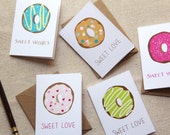 Set of 6 Mini Notes - Donuts Sweet Wishes Sweet Love Gift Enclosure Cards