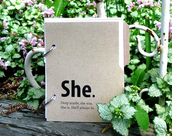 She Journal, She Diary: personal diary with writing prompts for women in kraft brown