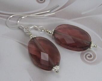 HARMONIOUS Purple Earrings, Glass Bead Earrings, Purple Jewelry Set, Glass Earrings, Dangle Earrings, Sterling Silver Pierced Earrings