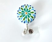 Blue Green Flower - Retractable ID Badge Holder - Cute ID Badge Reel - Name Tag Holder - Nursing Badge Clip - RN - Teacher Badge