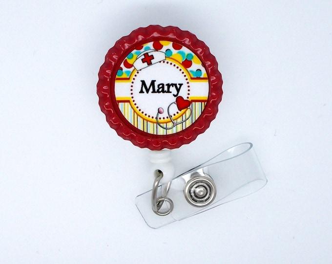 Personalized Nurse Flower Badge Red - RN Badge Holder - Nurse Practitioner Badge Holder - Nursing Badge Holder - CRNA Badge - NP Badge