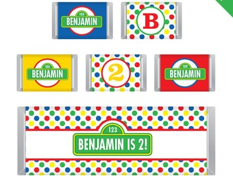 Sesame Street Party - Personalized DIY printable Hershey bar labels