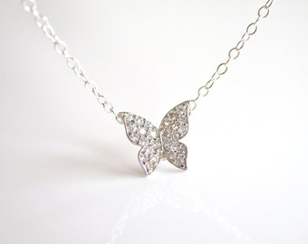 Cubic Zirconia Butterfly Necklace in Silver
