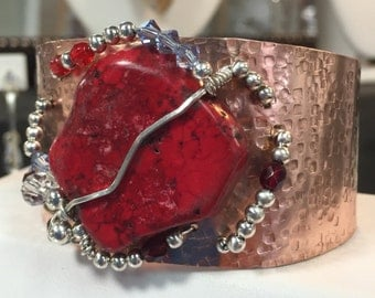 Copper and Sterling Hand Formed Cuff w/Coral SlaB