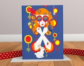 Through Rose Tinted Spectacles - Retro Greeting Card - Rabbit Card - Animal Card - Autumn Card