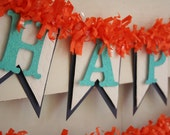 Blue and Orange Birthday Banner - Happy Birthday Banner - Birthday Decoration - Birthday Garland - Birthday Photo Prop