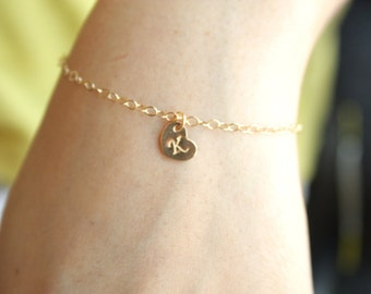 Personalized bracelet - initial Heart All Gold Filled , engraved monograms Heart charm, simple , petite , everyday jewelry , perfect gift