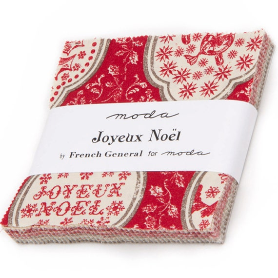 joyeux noel charm pack by french general for moda fabrics. Black Bedroom Furniture Sets. Home Design Ideas