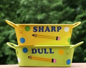 Personalized Teacher gift - Sharp and Dull oval pencil holders with Teacher name, pencil and polka dots - 2 piece set