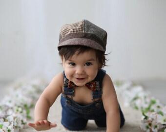 Newsboy Hat, Little Boys Newsboy Hat, Kids Photo Prop, Boys Winter Hat, Recycled Mens Suit Coat Hat, Vintage Hat