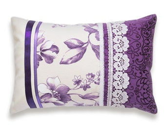 Decorative Purple Lavender Lilac Lumbar Pillow Case 12 x 18 in IRMA DESIGN Limited Edition