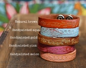 CUSTOM HANDSTAMPED CUFF - bracelet - personalized by Farmgirl Paints - narrow leather cuff with embossed dainty flower design