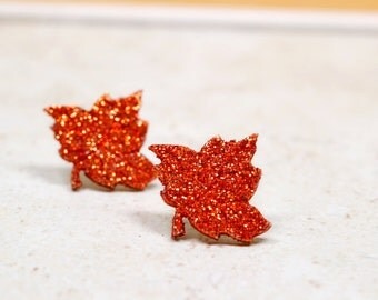 Rust Orange Leaf Earrings, Maple Leaf Studs, Glitter Earrings, Large Leaves, Glittery Jewelry, Botanical Earrings, Nature Jewelry