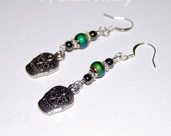 Sugar Skull Earrings, Day of the Dead Earrings, Día de los Muertos, Hematite Beads, Mood Jewelry, Unique Beaded Earrings