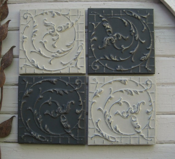 vintage tin ceiling tiles set of 4 12 x 12 tiles