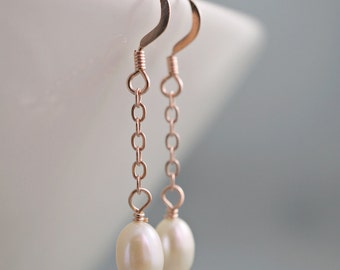 Bridal earrings rose gold filled delicate dangle chain Freshwater pearls Bridesmaid gift Wedding jewelry bridal party shower gift