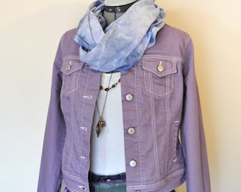 "Lilac Small Denim JACKET - Lavender Violet Purple Dyed Upcycle Old Navy Cotton Denim Trucker Jacket - Adult Womens Jrs. Small (36"" chest)"