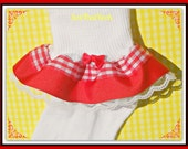 Little Red Riding Hood -  Girls Double Ruffle Gingham Socks with bow and lace ... Any Size-Costume, Dress Up...