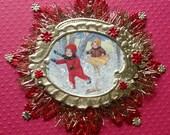 Christmas Ornament Vintage Look Victorian-Early 1900's Postcard Kids In Snow, German Dresdens, German Tinsel,