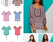 Misses Blouse Pattern, Peasant Top Pattern, Simplicity Sewing Pattern 1162