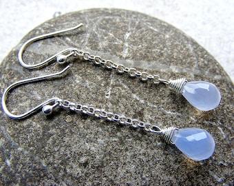 Dangle earrings, chalcedony earrings, light blue earrings, long earrings, silver earrings, lavender chalcedony earrings, blue chalcedony
