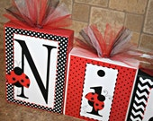 Niah Collection - Personalized Blocks - Ladybug - Black, Red and White - Nursery decoration, wall letters