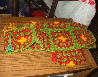 crocheted granny square pet coat - fall colors
